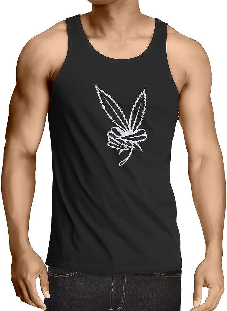 lepni.me Camisetas de Tirantes para Hombre Mano de Hoja de Marihuana, Signo de la Paz 60s 70s Festival Hippie
