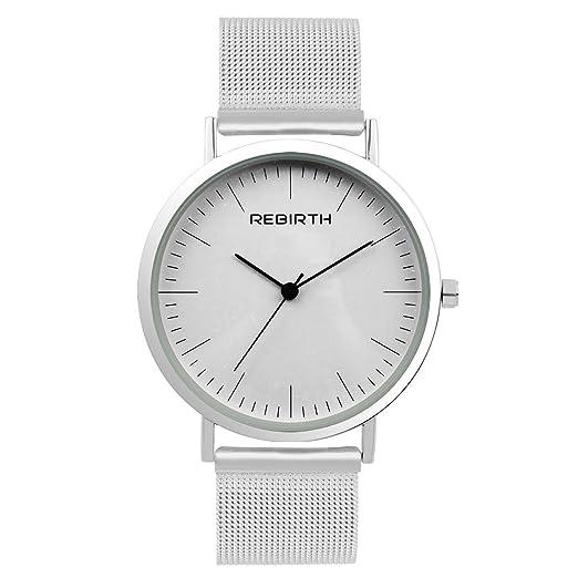 652562714ca3 abrray Simple de la mujer de malla de la pulsera impermeable minimalismo  Lady reloj de pulsera plata  Amazon.es  Relojes