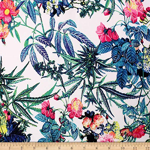 Telio Bloom Stretch Cotton Sateen Floral Garden Fabric, White Teal Denim, Fabric By The Yard