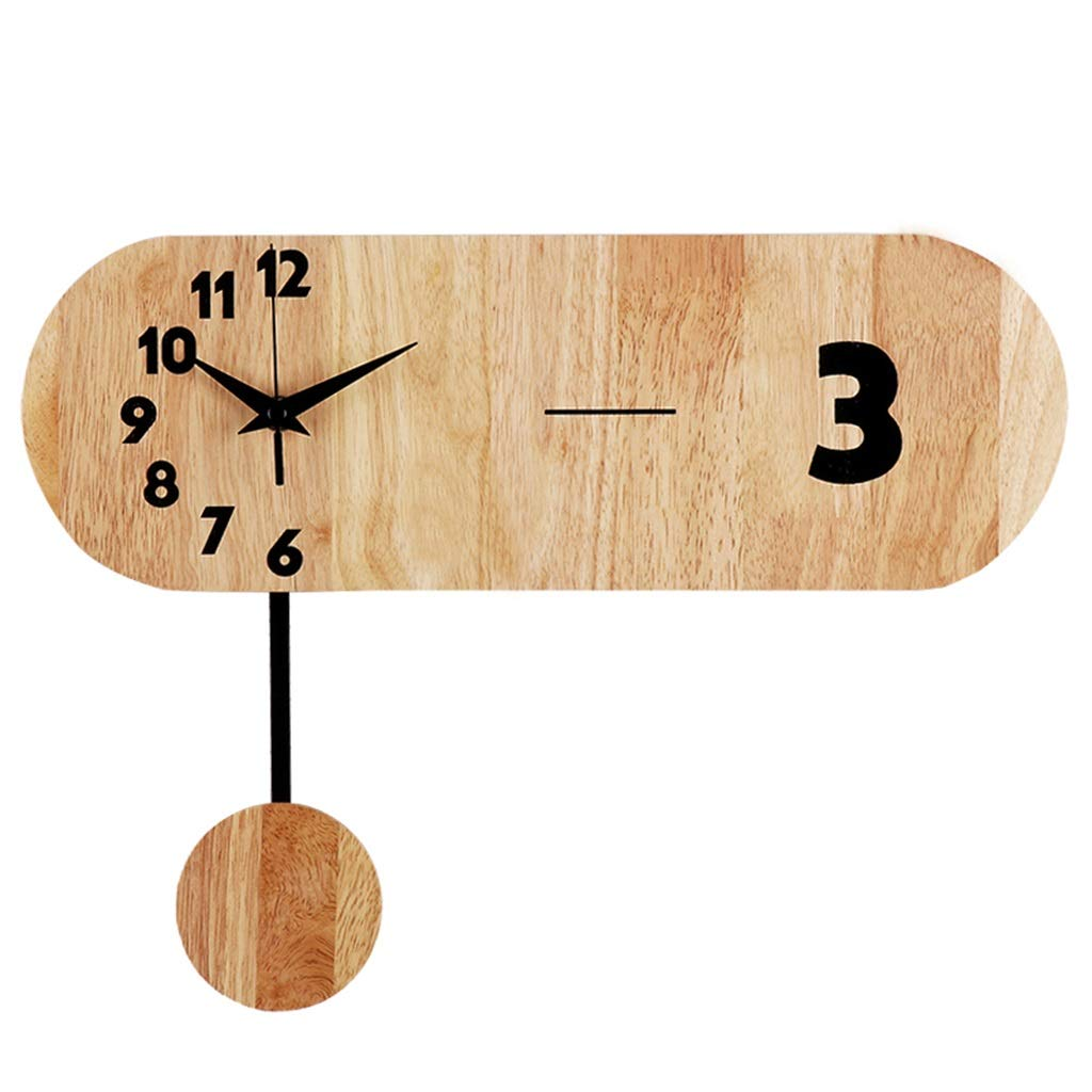 FJKAHGA Silent Wall Clock Wood 14-inches Diameter Non Ticking Digital Quiet Sweep Decorative Vintage Wooden Clocks, Natural