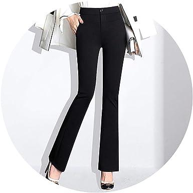 Office High Slim 4xl Flare Woman Waist Trousers Casual Ies Black KFc1Jl