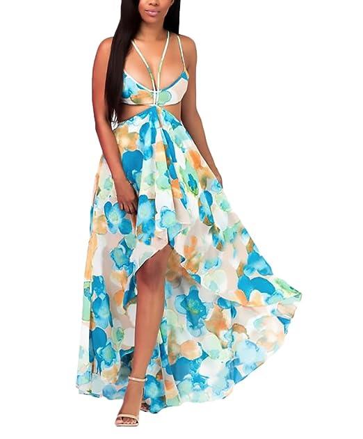 Vestido Largo Mujer Sencillos Diario Verano Largos Casual Playa Gasa Boho Retro Hippie Estampado Floral Sin