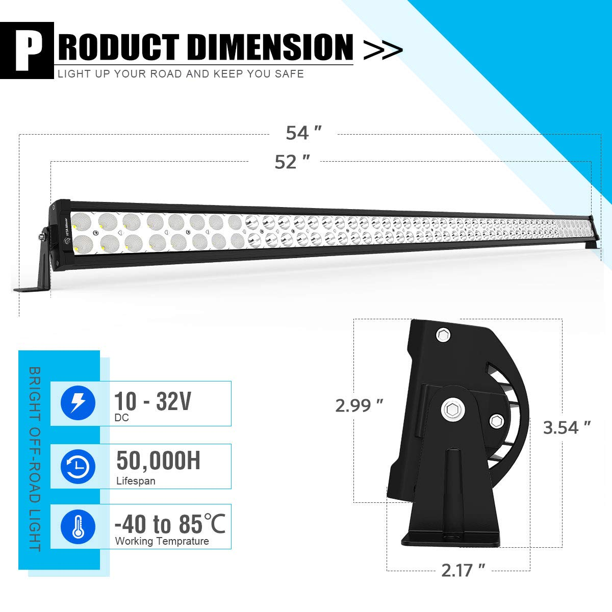Waterproof Offroad Lights for Jeep 3 Year Warranty LED Light Bar YITAMOTOR 52 Inch Light Bars with Mounting Brackets compatible for Jeep Wrangler TJ with Wiring Harness