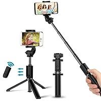 Bovon Perche Selfie Bluetooth Selfie Stick Trépied Monopode avec Télécommande Rechargeable, Bâton Réglable Télescopique, Support Téléphone pour iPhone X/8/7/7 Plus/6S/6, Samsung, Sony, etc (Noir)