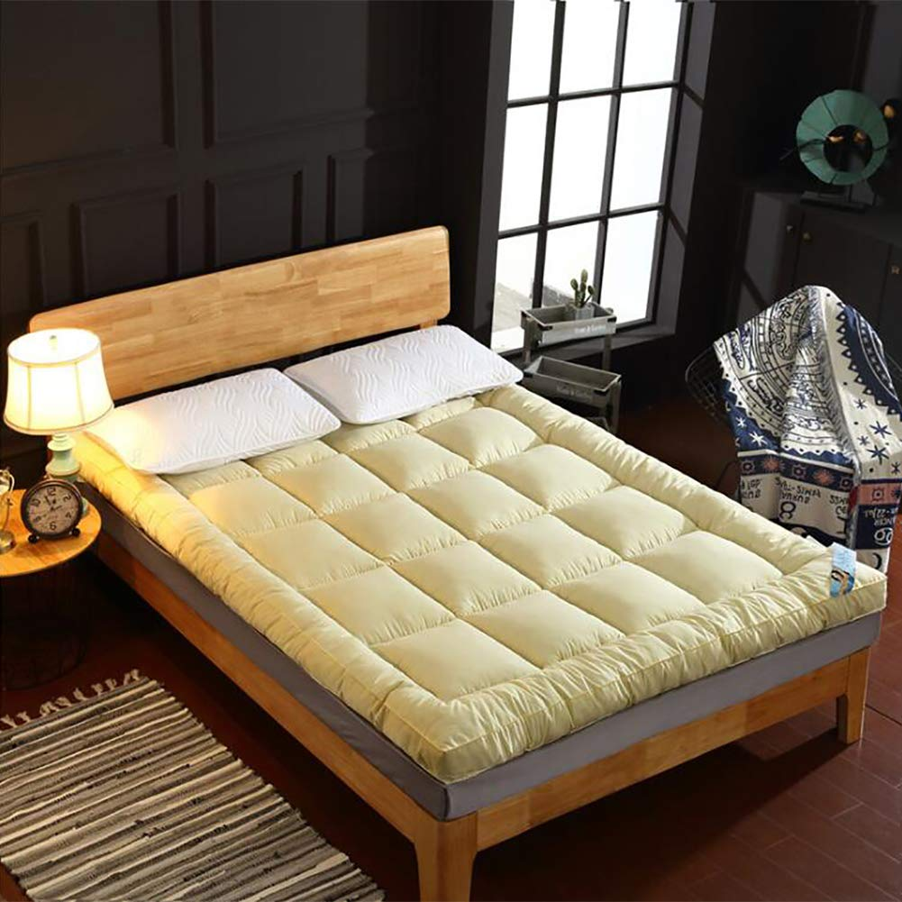 Yellow Twin1 Thick Matt Mattress, Collapsible Soft Sleeping Mattress Topper Japanese Futon Matt Mat Student Dormitory Sleeping Mattress-Yellow Twin1