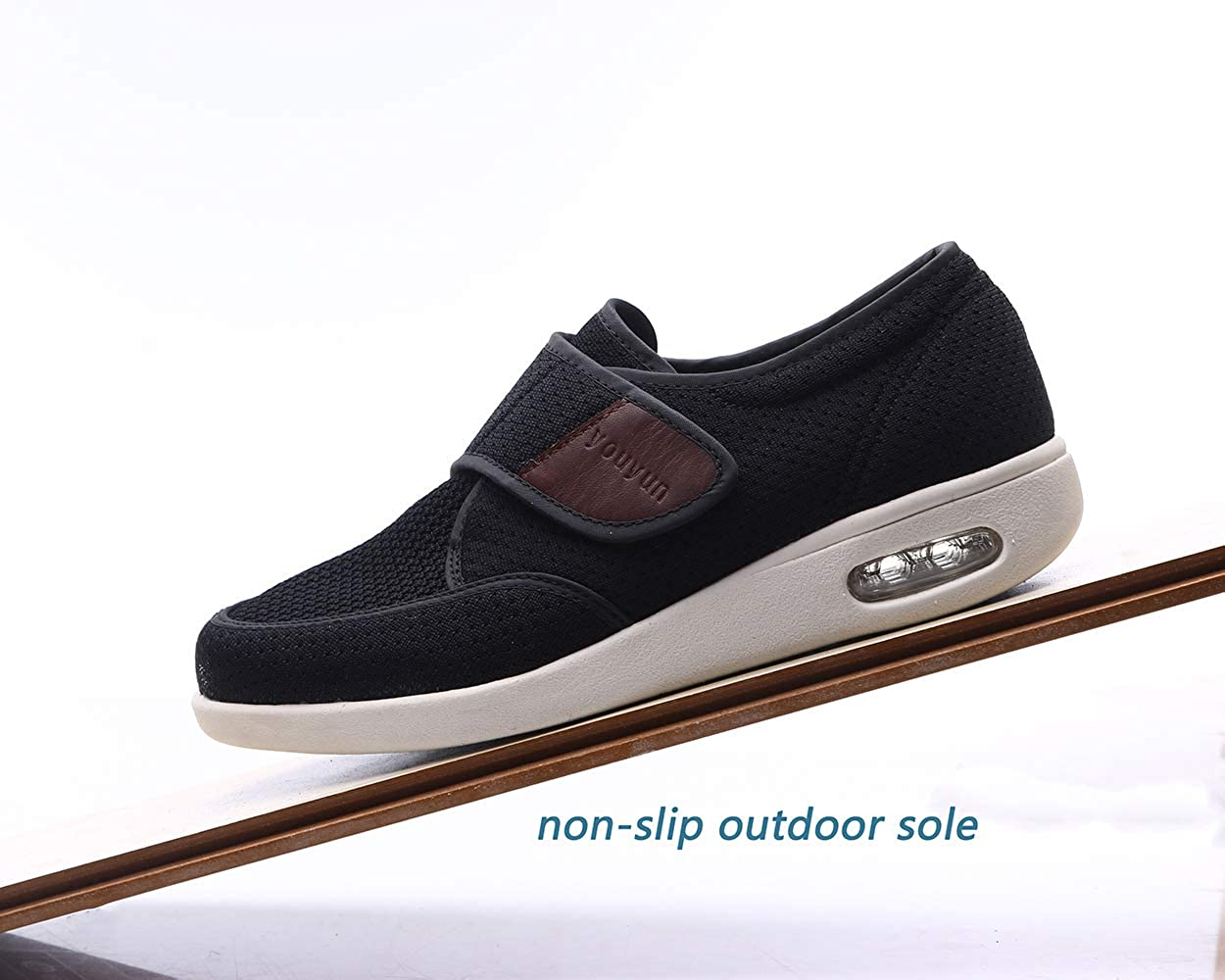   RYLHL Mens Diabetic Walking Shoes Adjustable Outdoor Sneakers Recovery Easy On Off Strap Wide Width Slippers Comfort for Seniors Elderly   Walking