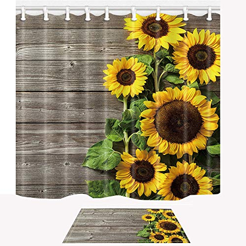 ChuaMi Sunflower Shower Curtain Set, Yellow Flower Plants and Grey Wood, Farmhouse Country Theme, Bathroom Decor Design Polyester Fabric 69 x 70 Inches with Hooks and Anti-Slip 40 x 60cm Bath Mat