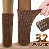 Square Chair Leg Floor Protectors Chair Leg Socks, Ravmix 32PCS Knitted Elastic Non-Slip Rubber Strips Furniture Socks Chair Leg Floor Protectors, Fit Square Round Oval Furniture Feet with Girth from 2.7inch to 7inch, Coffee Brown