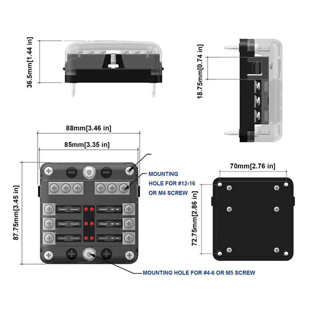 5 A//10 A//15 A//20 A//freie Sicherungen Volwco 6-Wege-Sicherungskasten,Sicherungshalter-Block mit LED-Anzeige Aufkleberetikett,Schutzabdeckung Schiffswagen f/ür 12 V//24 V Kfz Boot Marine