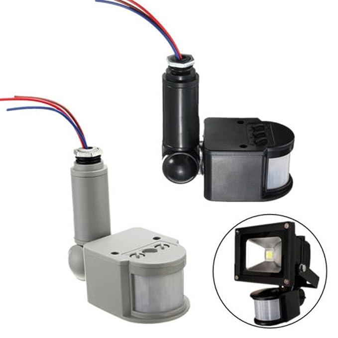 12m Pir Sensor Detector de Movimiento Infrarrojos Luz Montaje Pared Al Aire Libre Rf DC 12V - Gris: Amazon.es: Bricolaje y herramientas