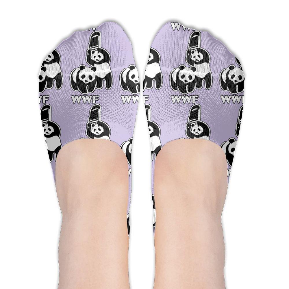 WWF Funny Panda Bear Wrestling Women's No Show Sports Socks 1 Pack