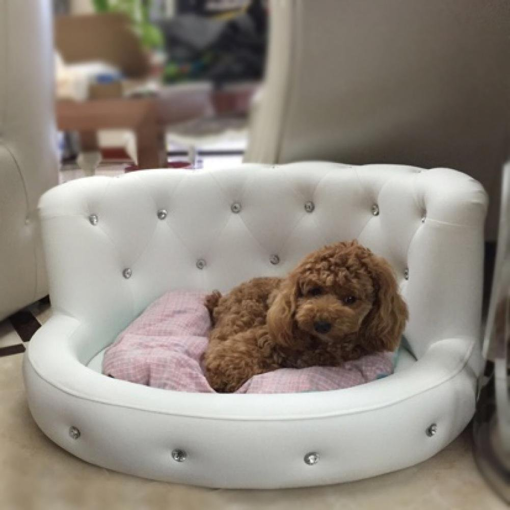 (White) Dog Bed Princess Tactic VIP Bichon Diamond Puppy Kennels Bed Washable Leather Summer Pet Sofa Luxury