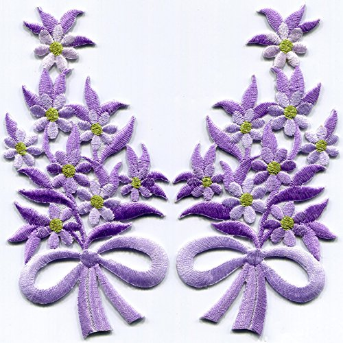 Amethyst Bouquet - Amethyst purple flowers floral bouquet pair embroidered appliques iron-on patches S-1294