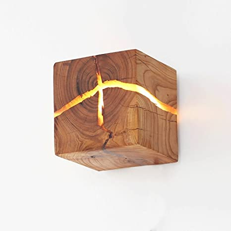 Cgjdzmd Wall Sconce Modern Led Solid Wood Atural Cracked Wood Wall Lights Led Ideal For Living Room Corridor Bedroom Wall Lantern Warm White Including Light Source Amazon Com