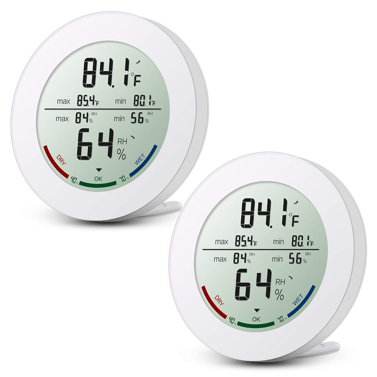 ORIA Digital Humidity Thermometer, Temperature Humidity Indoor, 2.5 Inches LCD Display, ℃ and ℉ Switch, Hygrometer Thermometer for Indoor Use, 2 Pack by ORIA