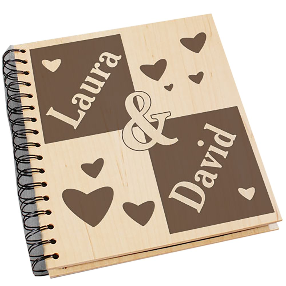 GiftsForYouNow Engraved Couple's Wood Photo Album, Holds 72, 4'' x 6'' Photos