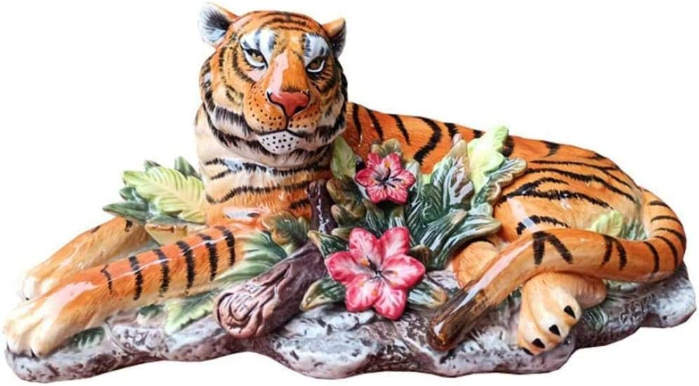 Statues Sculptue Sculptures,Decorative Object for Home,Art,Collection Office,Ceramic Tiger Statue Tiger Sculpture Animal Model Painted Ceramic Crafts Room Decoration Gifts