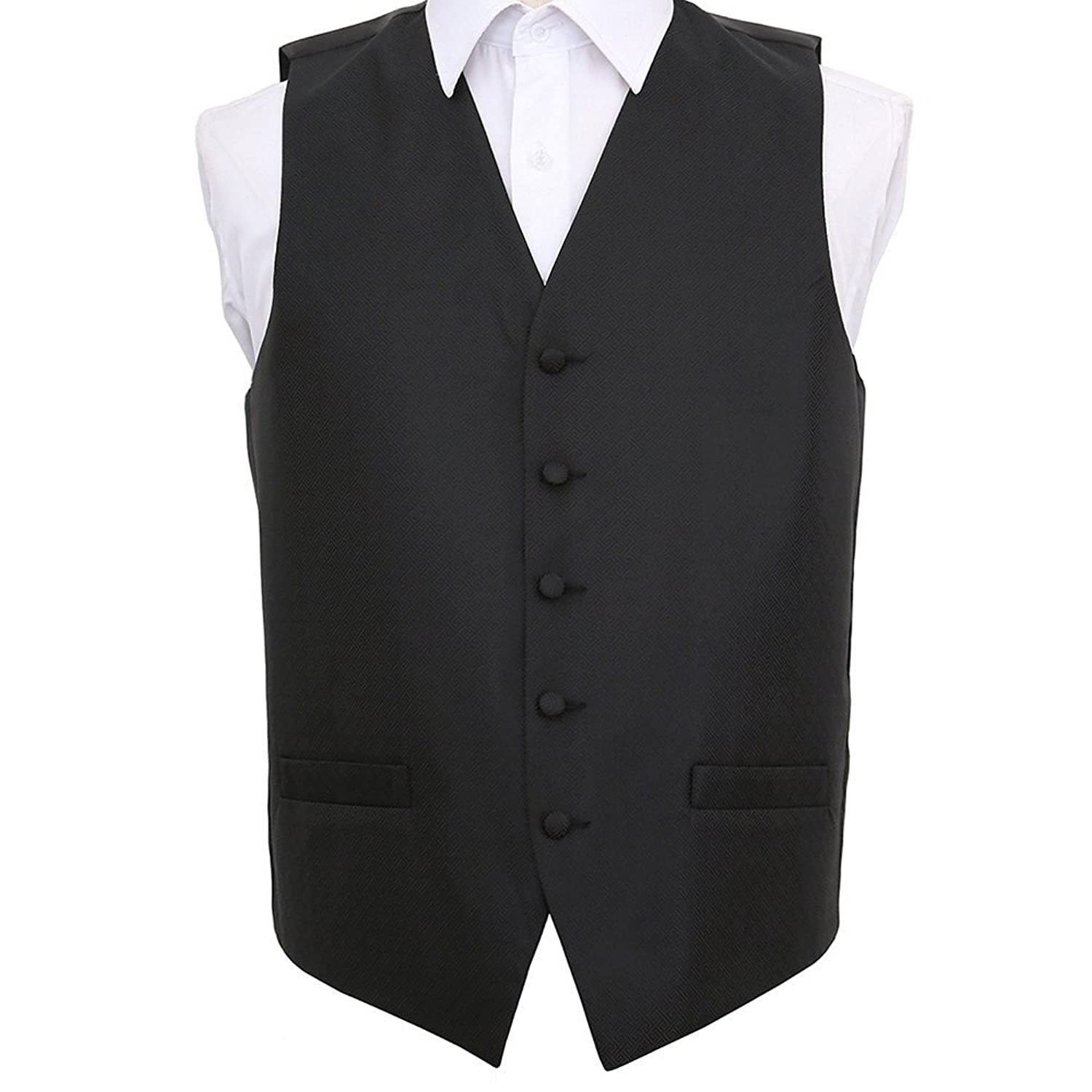 DQT Woven Swirl Patterned Black /& Blue Formal Mens Wedding Waistcoat S-5XL