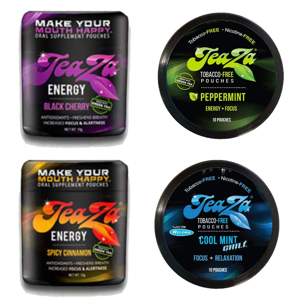 Teaza Variety Peppermint, Black Cherry and Spicy Cinnamon, and Caffeine-free Cool Mint Chill 4 Pack by TeaZa