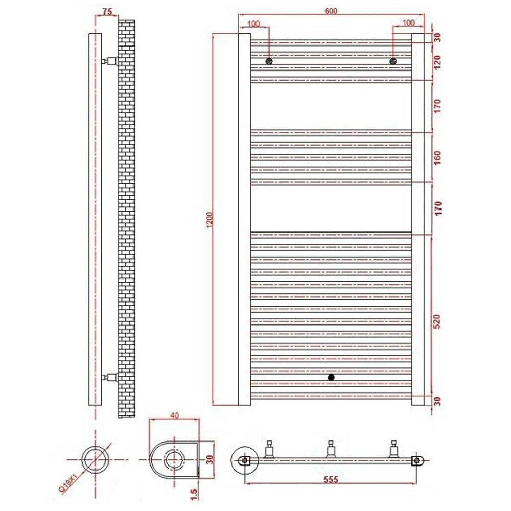 Hudson Reed Radiador Toallero Eléctrico Diseño Plano Para Baño - Acero Cromo - 1200 x 600 mm - Elemento Termostático 200W - Calentador Toallas Decorativo ...