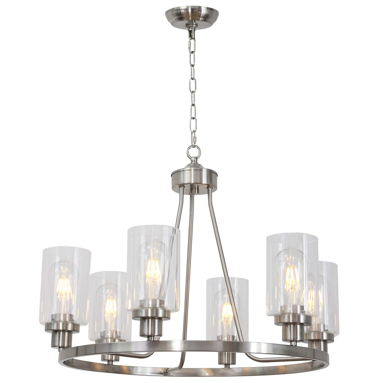 Melucee 6 lights round chandelier brushed nickel island lighting dining room lighting fixtures hanging glass pendant light for kitchen living room bedroom
