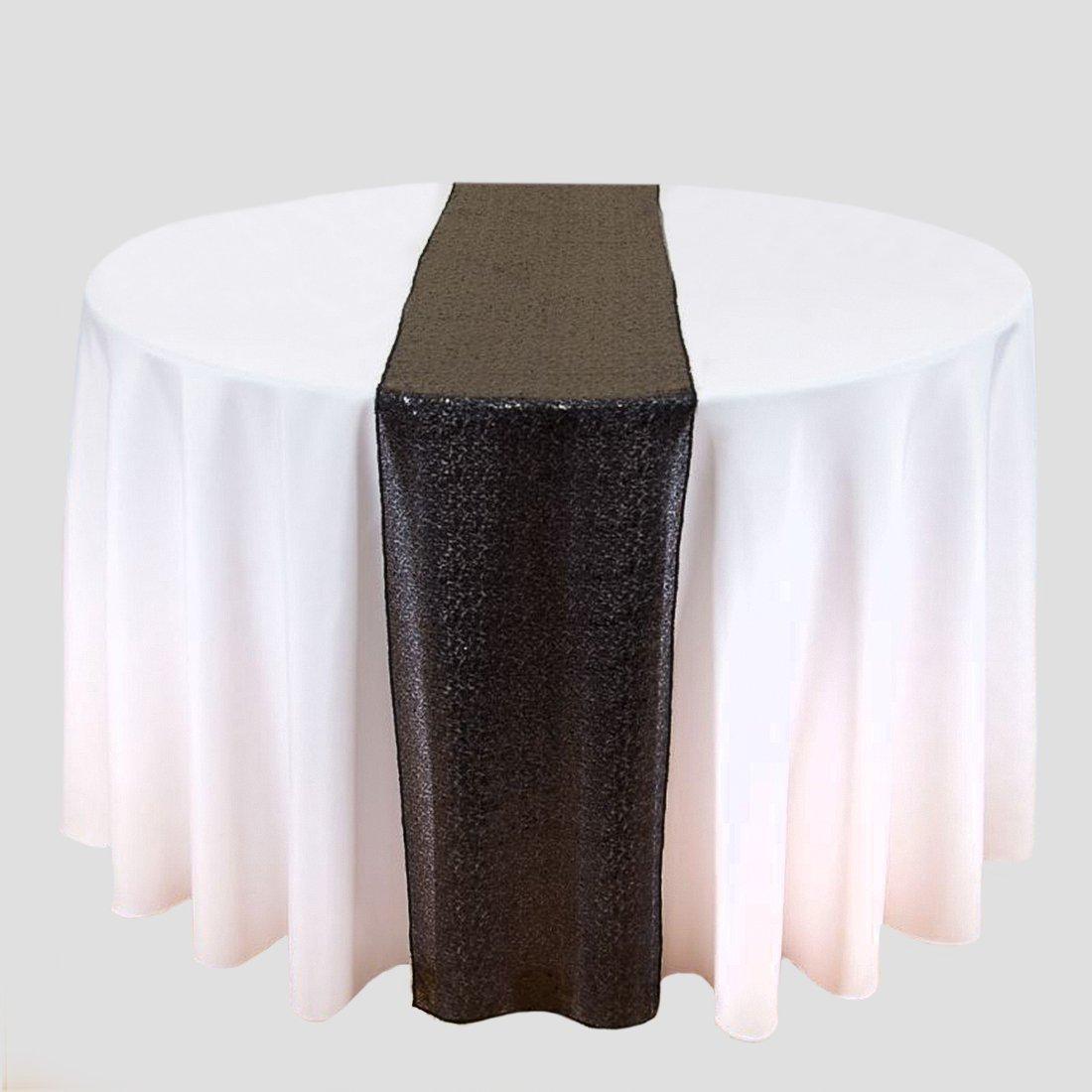 リネンテーブルクロス 14 x 108インチ スパンコールテーブルランナー ブラック   B0748742X3