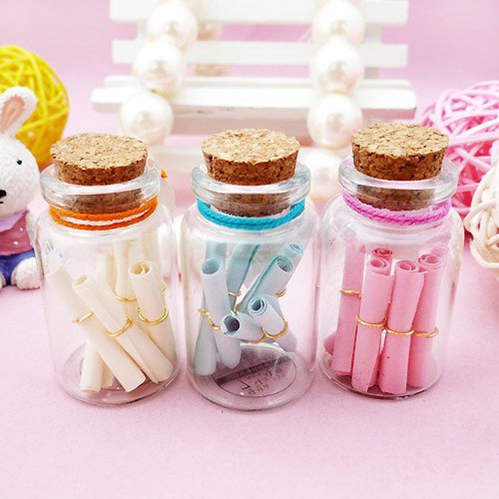 Amazon.com: LEFV™ 7ml Small Bottles Transparent Mini Glass Jars with ...