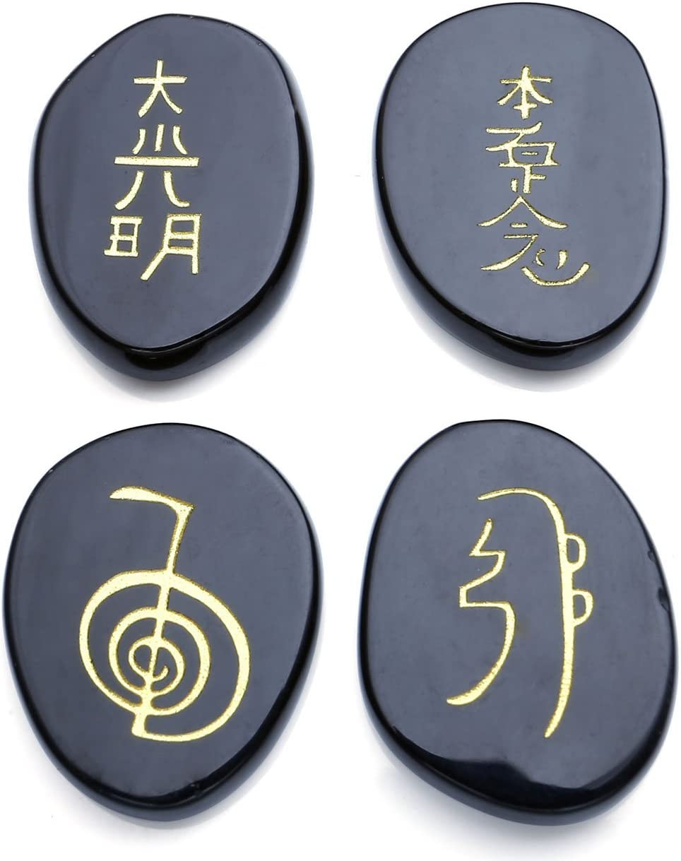 livraison gratuite Chakra Lot de 7/pierres chakra avec grav/é symboles Pochette inclus Reiki pierres chakra