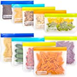 Reusable Storage Bags - 10 Pack Leakproof Freezer Bag(5 Reusable Sandwich Bags + 5 Reusable Snack Bags) EXTRA THICK…