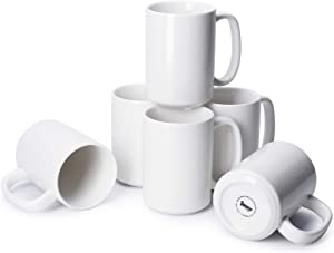 Sweese 608.001 Porcelain Mugs Set, 15 Ounce Large Handle Mugs, Set of 6, White