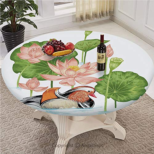 Table Cloth Round 43 Inch To 78 Inch Elastic Edge Fitted Table Cover Great for Indoor and Outdoor Dining and Playing Cards,Duck,Baby Mandarin Duckling in Pond with Lotus Lily Flowers Water Painting St (Plastic Painting Garden Coated Furniture)