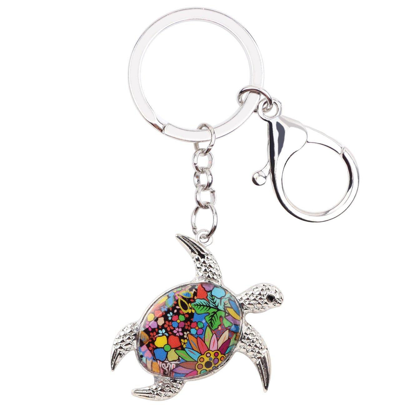 Enamel Metal Turtle Key chains For Women Girls Gifts Car Purse bag Tortoise Pendant Charms BONSNY JEWELRY AK302A