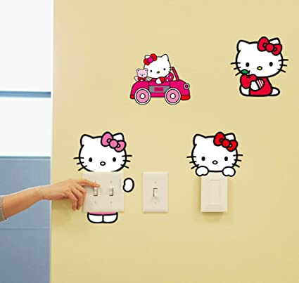 Amazon Com Fange Diy Removable Cute Hello Kitty Art Mural Vinyl