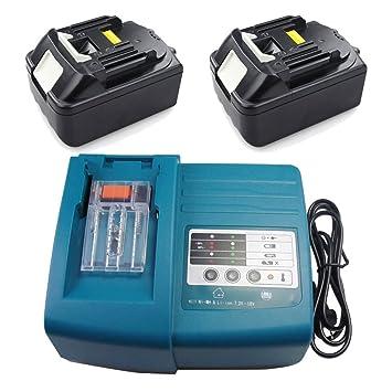 Cargador y 2 baterías para Makita BL1830 DC18RA DC18RC ...