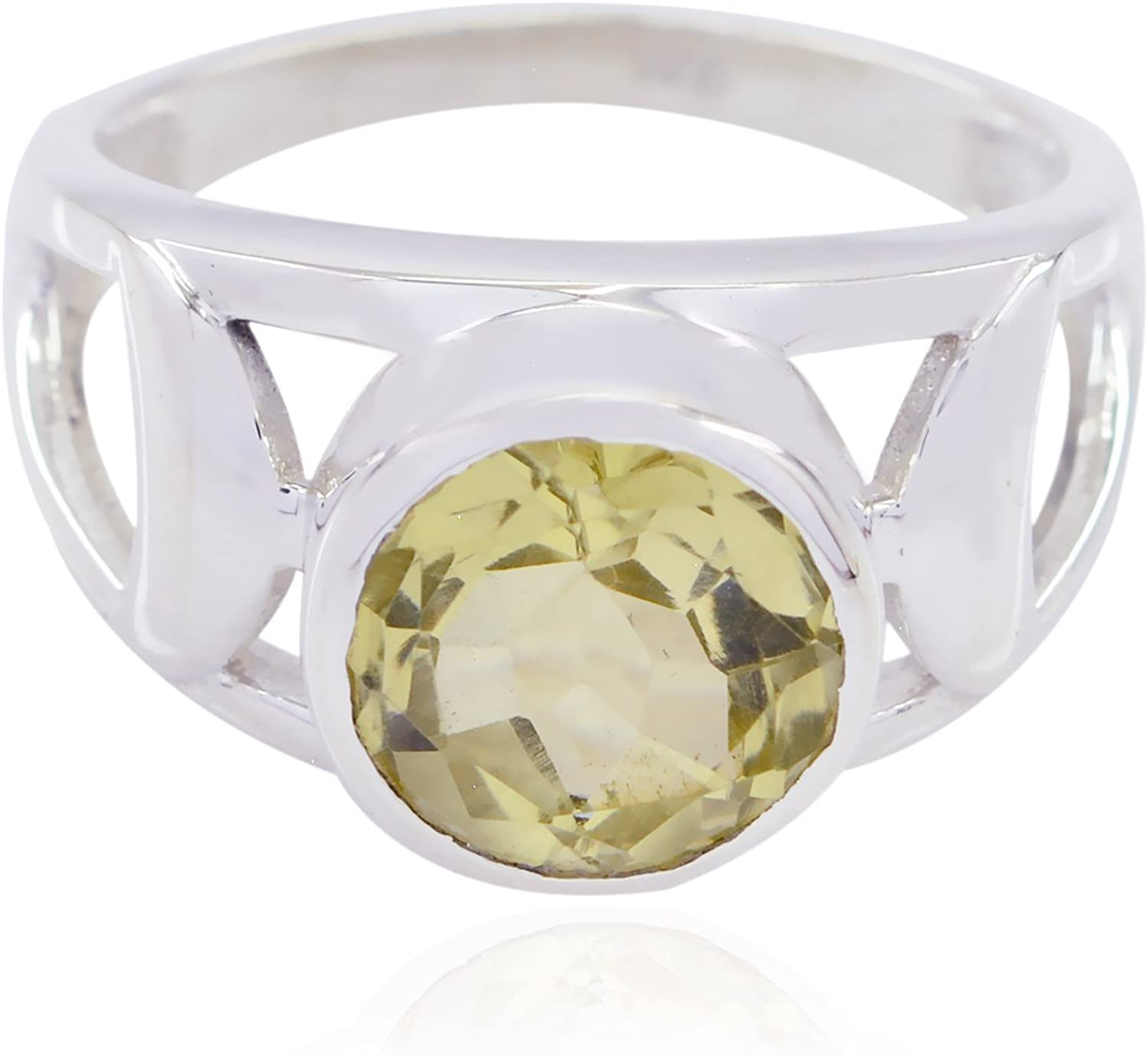 Solid Silver Yellow Lemon Quartz Real Gemstones Ring Kids Jewelry Great Selling Shops Gift for Teachers Day Bridesmaid Ring Real Gemstones Round Faceted Lemon Quartz Ring