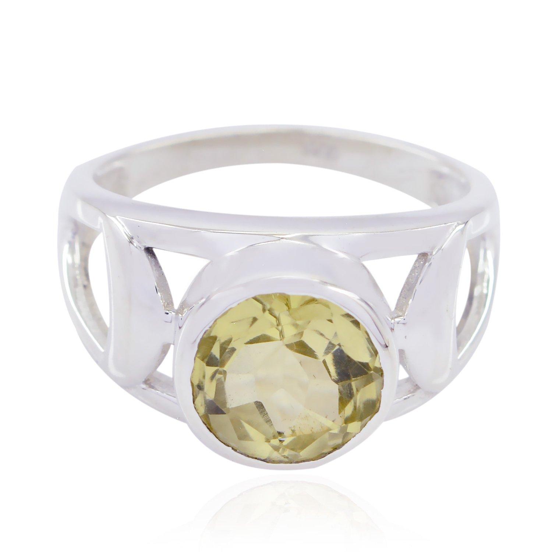 925 Silver Yellow Lemon Quartz Lovely Gemstones Ring Faishon Jewelry Nice Seller Gift for Childrens Day Personalized Ring Lovely Gemstones Round cabochon Lemon Quartz Rings