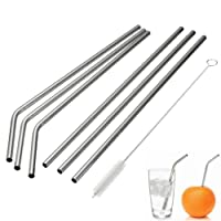 Stainless Steel Drinking Straws , Reusable Metal Drinking Straws with Cleaning Brushes for 30 20 Oz Yeti RTIC Tumbler Rambler Cups