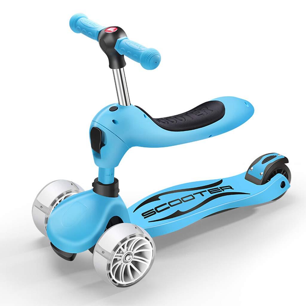 1-8 歳 子供 3-in-1 多機能幼児ウォーカー 幼児 ベビースクーター サーフカー ワンボタンスイッチ 4輪フラッシュ。 ブルー abc123456  ブルー B07JYD56QV