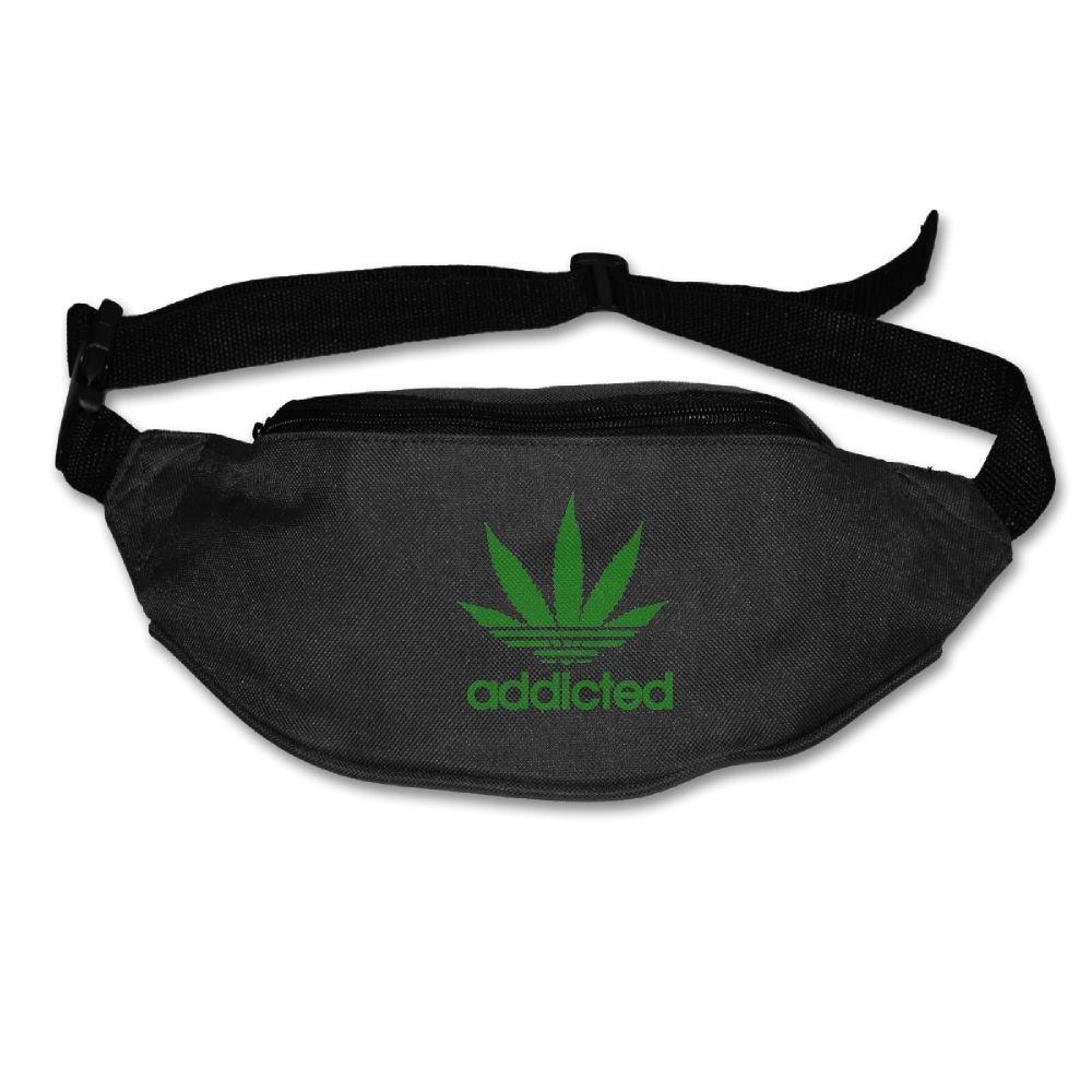 Heard MeユニセックスAddicted Cannabis Weed Leaf Fanny Packウエストバッグ電話ホルダー調整可能なRunningベルトforサイクリング、ハイキング、ジム One Size ブラック B0771KPGBX