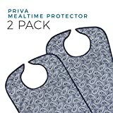 Priva 2 Piece Extra Long Paisley Waterproof Mealtime Protector Adult Bib, 12 Count