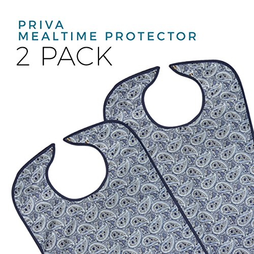 Priva 2 Piece Extra Long Paisley Waterproof Mealtime Protector Adult Bib