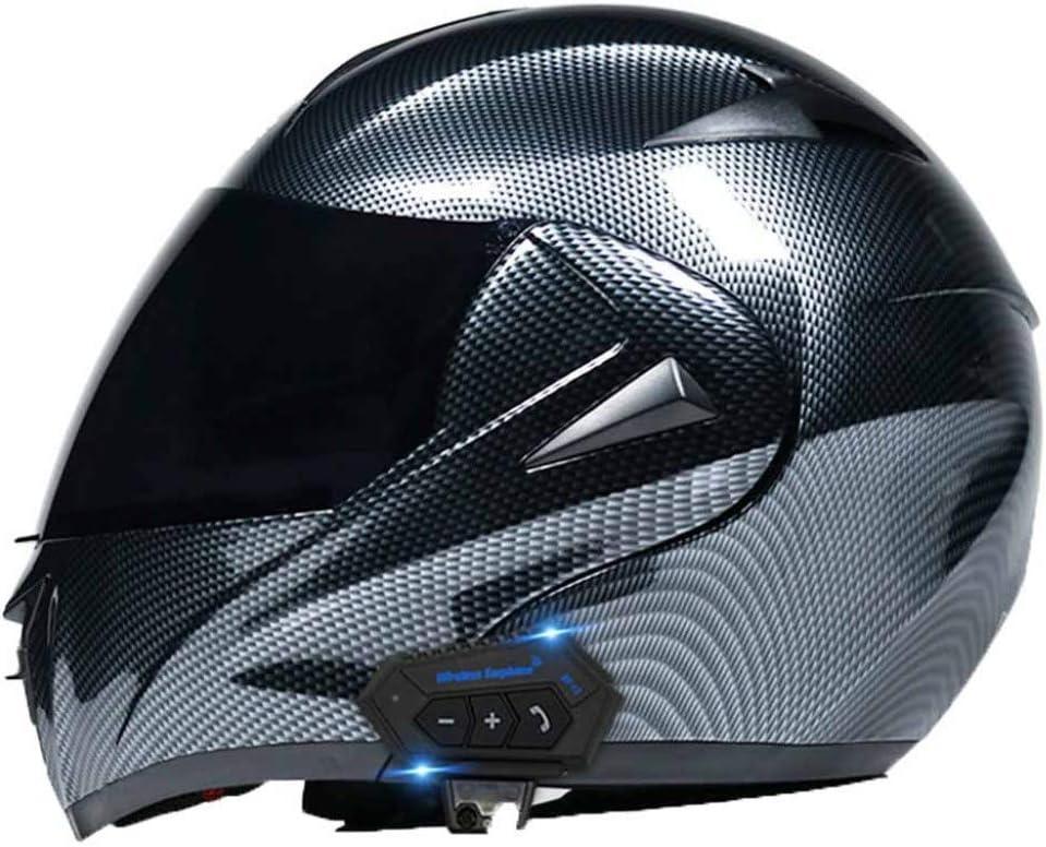 Cruiser Motorcycle Bluetooth Helmet,Crash Modular Men Road Racing Helmet,Double Sun Visor Full Helmet,Carbon Fiber Material