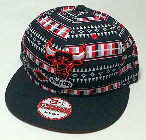 Chicago Bulls New Era 9Fifty Tribal All Over Tri All Black Red Snapback Hat - Red Era Bull New