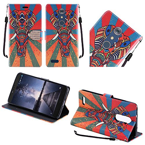 hr-wireless-cell-phone-case-for-zte-zmax-pro-tribal-ethnic-aztec-colorful-exotic-elephant
