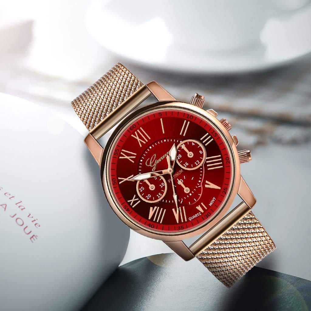 Pocciol Fashion Military Stainless Steel Quartz Watch Womens Casual Watch Luxury Analog Wristwatch (Red) by Pocciol Cheap-Nice Watch (Image #3)