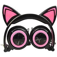 EUCoo Auriculares plegables auriculares musicales con forma de gato con LED para PC MP3 auriculares de juegos