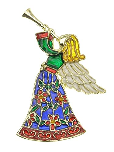 Amazon.com: Multi Color Angel with Trumpet Brooch Gold-Tone: Jewelry