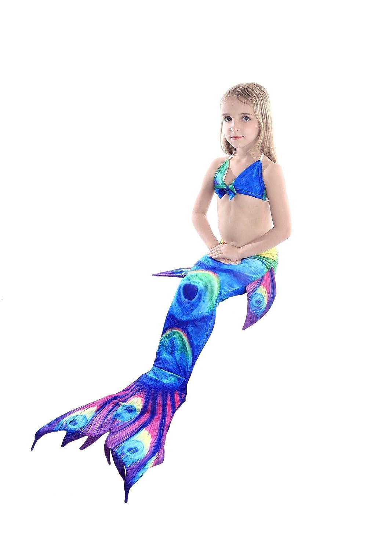 YXYP 3pcs Traje de Ba/ño de Cuello H/álter con Cola de Sirena Bikini Conjuntos para Ni/ña Las Muchachas Cosplay