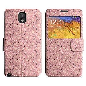 Be-Star Diseño Impreso Colorido Slim Casa Carcasa Funda Case PU Cuero - Stand Function para Samsung Galaxy Note 3 III / N9000 / N9005 ( Pink Pattern )
