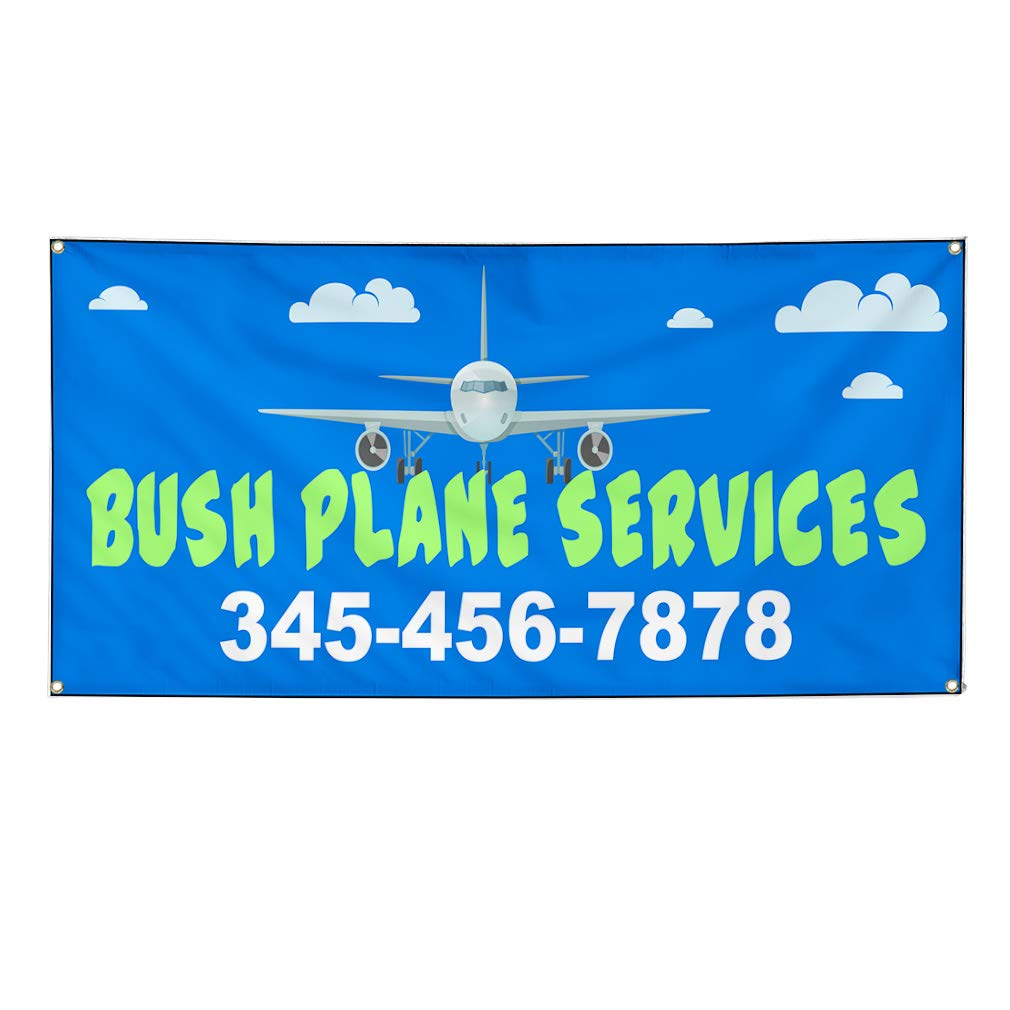 Custom Vinyl Banner Sign Multiple Sizes Bush Plane Services Phone Number Blue Business Bush Plane Services Outdoor Blue 6 Grommets 36inx72in Set of 5
